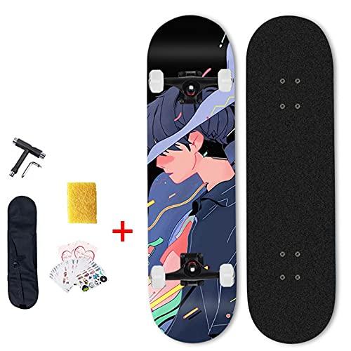 VOMI Skateboard para Principiantes, 31 x 8 Pulgadas Completo Monopatín con Double Kick, 7 Capas de Arce Cubierta Cóncava Patineta, Estándar Cruiser Skateboards, para Niña Niño Adolescente Adulto,C