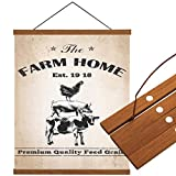 Cloud Dream Home Magnetic Poster Frame Cattle Cock Pig 10'(10x14inch) Light Wood Wooden Frames Hanger Rustic Farm Dowel Scroll Wall Hanging for Photo Picture Canvas Artwork
