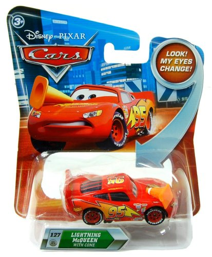 Disney Cars 1:55 Vehicle Lenticular Eyes: Lightning Mcqueen With Cone