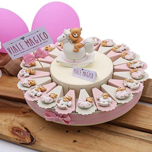 Torte Bomboniere Nascita Orsetto con Carrozzina e Pony Bimba Magnete 20 fettine
