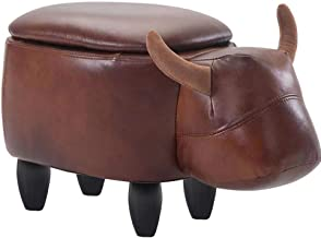 JQes Animal Model Footstool-Ottoman, Ottoman - with Storage Box Footstool, Leather Footstool, Vivid and Lovely Animal Bench, Suitable for Living Room - Dining Room - Bedroom - Children