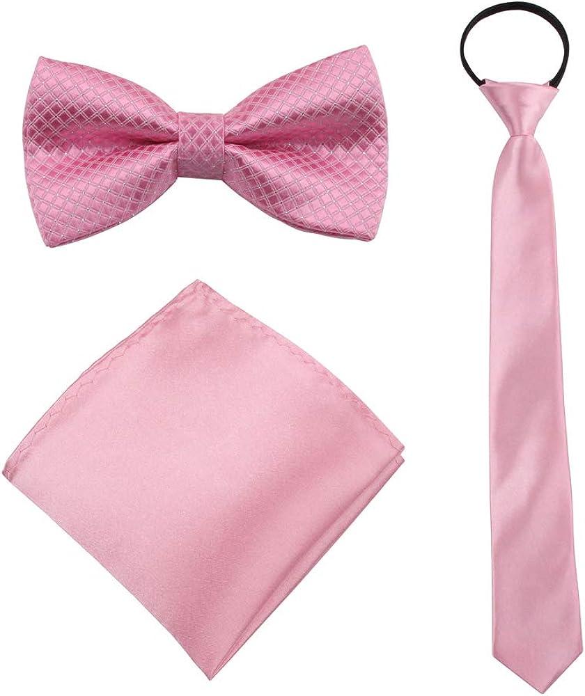 GUCHOL Boys Bow Tie Pocket Square Necktie - 3 Piece Set for Kids with Wedding Praty