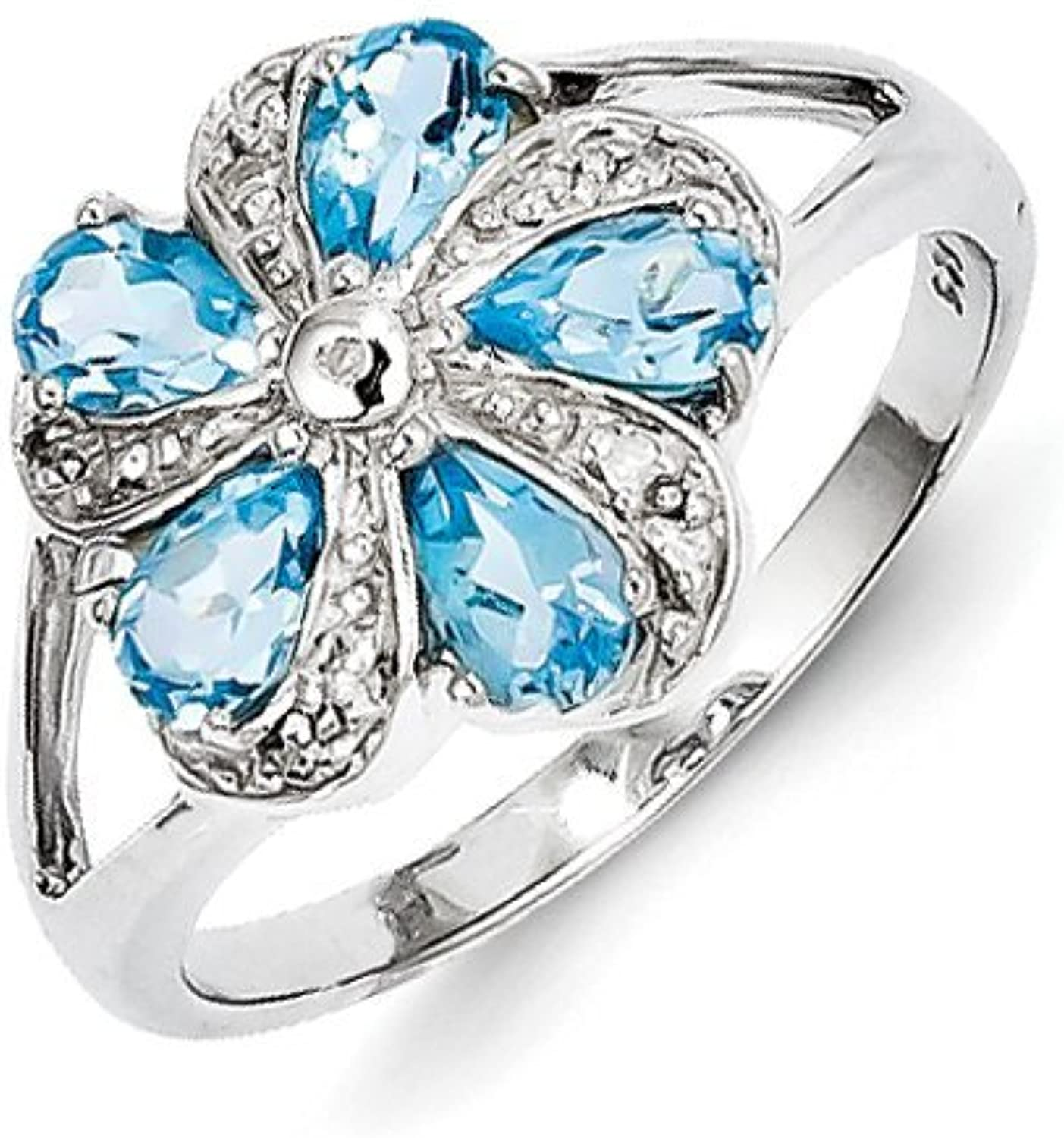 gold and Watches Sterling Silver Rhodium Light Swiss bluee Topaz Diamond Ring