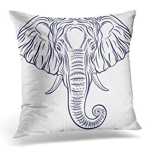 Awowee Funda de cojín de 40 x 40 cm, diseño de elefante en color blanco con dibujo de elefante en color blanco decorativo dibujado a mano para decoración del hogar, funda de cojín para sofá o silla cama