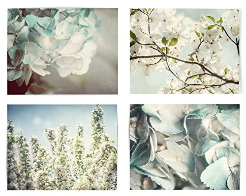 Blue Shabby Chic Wall Decor Set of 4 (Not Framed) Floral Prints. Hydrangea, Cherry and Dogwood Blossom Botanical Flowers Art for Bedroom, Bathroom or Nursery. (4 5x7 Prints Only)
