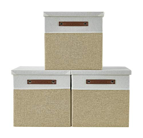 DECOMOMO Foldable Storage Bin [4-Pack] Collapsible Sturdy Cationic Fabric Storage Basket Cube W/Handles for Organizing Shelf Nursery (Beige & White, 11 x 11 x 11)