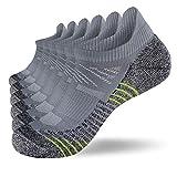 Fioboc Calcetines Deportivos 6 Pares para Hombres & Mujeres Calcetines de Tobillo Corte Bajo Deportivos Compresión Rendimiento Calcetines (Gris, 35-38)