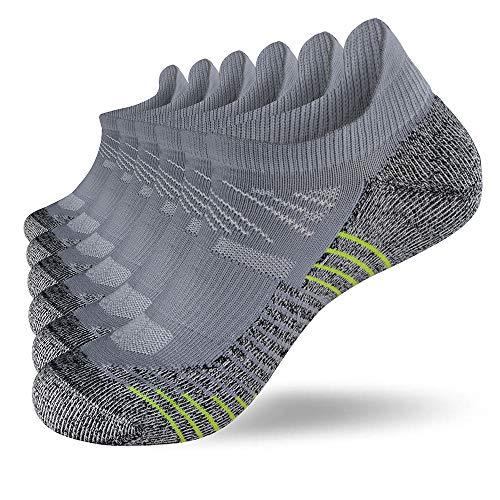 Fioboc Calcetines Deportivos 6 Pares para Hombres & Mujeres Calcetines de Tobillo Corte Bajo Deportivos Compresión Rendimiento Calcetines (Gris, 43-46)