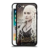 Head Case Designs Officially Licensed HBO Game of Thrones Daenerys Targaryen Quotes Black Hybrid Glass Back Case Compatible with Apple iPhone 7 / iPhone 8