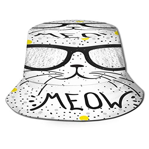 PUIO Sombrero de Pesca,Lindo Gato Gafas diseño de Camiseta niñas,Senderismo para Hombres y Mujeres al Aire Libre Sombrero de Cubo Sombrero para el Sol