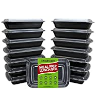 Freshware Meal Prep Containers [15 Pack] 1 Compartment with Lids, Food Containers, Lunch Box | BPA Free | Stackable | Bento Box, Microwave/Dishwasher/Freezer Safe, Portion Control (28 oz)