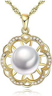 Gerçek İnci Kolye Gümüş Kolye 925 Taşlı Papatya Şekilli Kolye