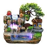 JXSD Fuente Interior, Hermosa Cascada de Fuente de Agua LED Artificial, Roca de Resina de simulación, decoración Interior de jardín para Oficina en casa