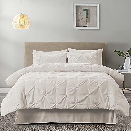 Figuran 3-Piece Duvet Cover Set Full/Queen Size 90'x90', Pinch Pleated Queen Size Duvet Cover with...