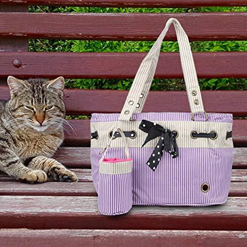XQAQX Borsa per Animali Domestici, Borsa per Animali Domestici, Borsa per trasportini per Cani a Righe, Borsa per trasportini per Cani e Gatti per Cani e Gatti per Esterni in Tessuto di Nylon(Viola)