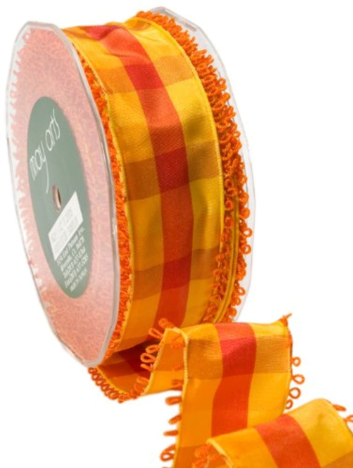 May Arts 1-1/2-Inch Wide Ribbon, Orange and Red Check