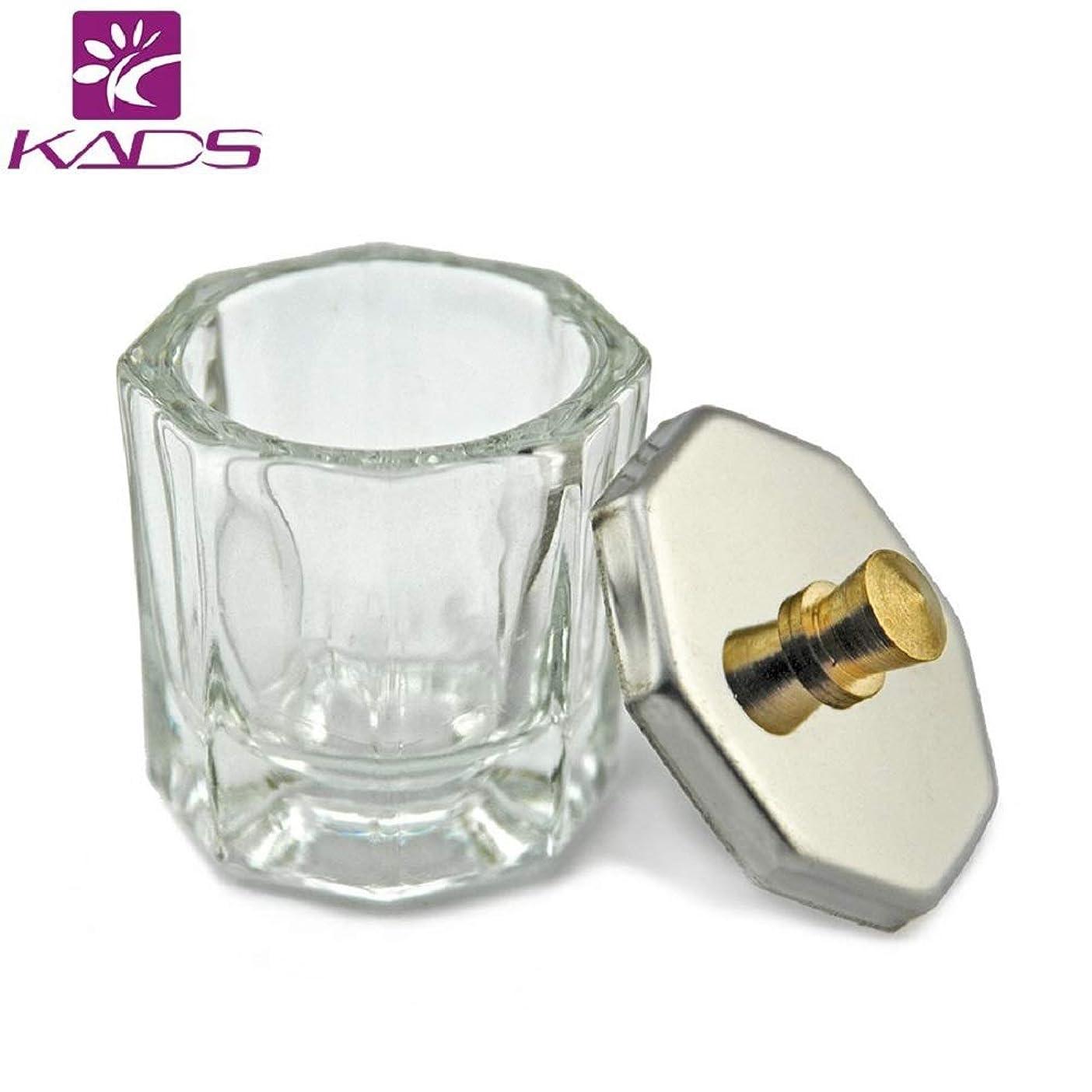 化学薬品すり側溝KADS 八角形ネイルダッペンディッシュ フタ付き ガラス製 筆洗いガラス容器 ジェルネイル用筆洗浄