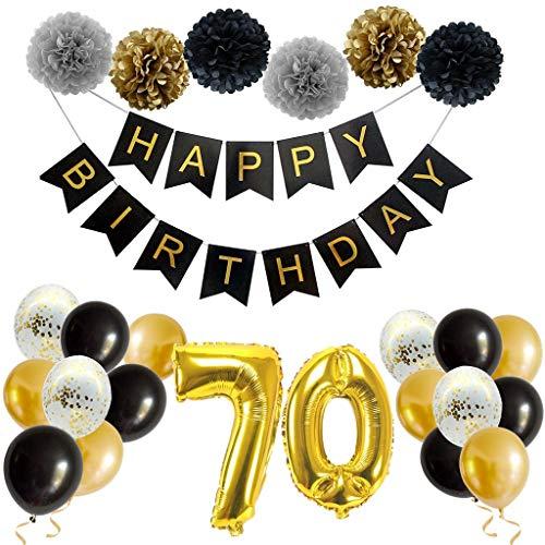 70. Geburtstagsdeko Schwarzes Gold, Geburtstag Party Dekoration Set - Happy Birthday Girlande, Papier Pompoms, Riesen Zahl 70 Folienballons für Männer Frauen Erwachsene Geburtstagsfeier