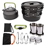 TANGIST Camping Kit de Utensilios de Cocina Al Aire Libre de Aluminio Ligero Camping Pot Pan Set 9 PCS Utensilios Portátiles para Senderismo Camping Picnic Senderismo Mochila Excursión Escalada