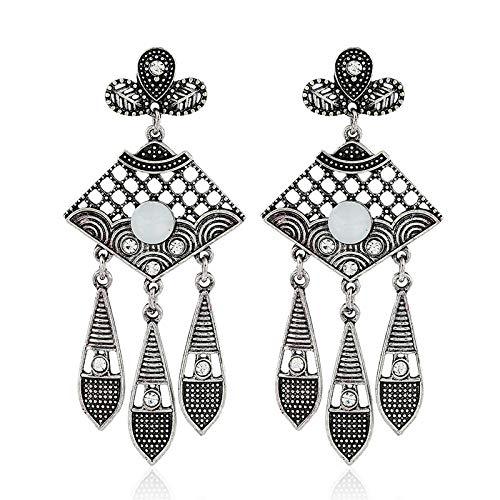 Pendientes de diamantes retro europeos y americanos pendientes de borla huecos joyería de moda venta caliente