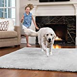 Gorilla Grip Original Faux-Chinchilla Area Rug, 7.5x10 FT, Many Colors, Soft Cozy Pile Washable Kids Carpet, Floor Rugs, Luxury Shaggy Carpets for Home, Nursery, Bed and Living Room, Light Gray