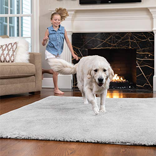 Price comparison product image GORILLA GRIP Original Faux-Chinchilla Area Rug,  7.5x10 FT,  Many Colors,  Soft Cozy High Pile Washable Kids Carpet,  Floor Rugs,  Luxury Shaggy Carpets for Home,  Nursery,  Bed and Living Room,  Light Gray