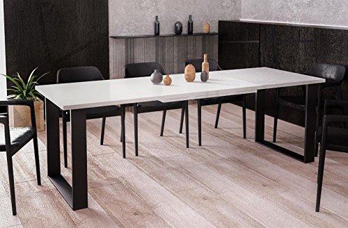 Endo-Moebel Kufentisch Esstisch Cora Weiss Hochglanz ausziehbar 130cm - 210cm Küchentisch mit Kufen Design