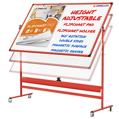 Mobile Whiteboard - 70x36 Large Height Adjust 360° Rolling Double Sided Dry Erase Board, Magnetic White Board on Wheels, Office Classroom Portable Easel with Stand, Flip Chart Holders and Pad | Red