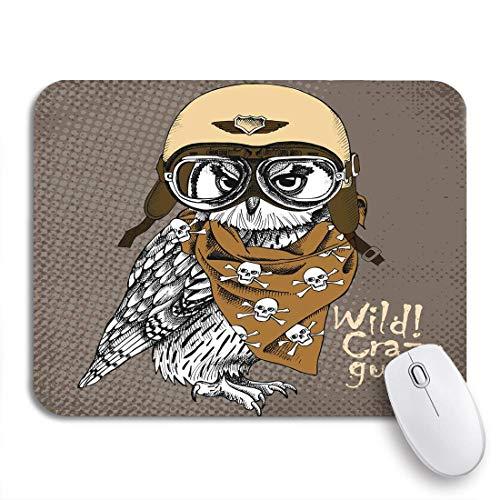 Gaming mouse pad porträt der eule mit retro motorrad motorrad helm und halstuch rutschfeste gummi backing computer mousepad für notebooks maus matten
