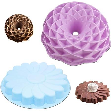 Senhai Lot de 2 moules à gâteau ronds en silicone en forme de pétale de tourbillon et nid d'oiseau anti-adhésif pour fête d'anniversaire DIY – Violet, Bleu