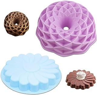 Senhai Lot de 2 grands moules à gâteau ronds en silicone en forme de pétale tourbillon et nid d'oiseau anti-adhésif pour f...