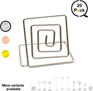 qlly Wire Shape Place Card Holder Stands, Table Name Number Holders, Paper Menu Picture Memo Note Photo Clip Holder Food Signs for Weddings, Dinner, Parties(20 Pack) (Silver)