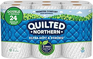 Quilted Northern Ultra Soft & Strong Toilet Paper, Double Rolls, 2-ply, 12 Count (Pack of 1)