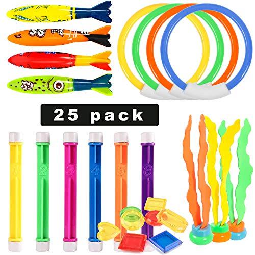 Sunshine smile 25 Stücke,Unterwasser Pool Spielzeug,tauchspielzeug für Kinder,Tauchsticks tauchringe für Kinder,Tauchen Spielzeug,Unterwasser Kinder Spielzeug