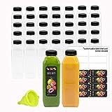 16 OZ Empty Eco Friendly PET Plastic Juice Bottles - Pack of 35 Reusable Clear Disposable Milk Bulk Containers with Tamper Evident Caps Lids (16 oz, Black)