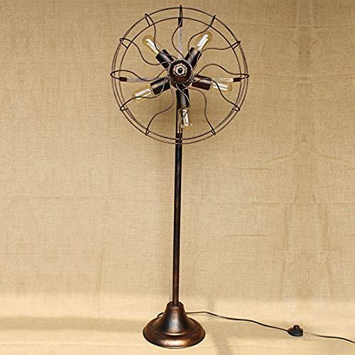 HQYXGS Lampada da Terra Stile Industriale, Lampada A LED retrò Soggiorno Camera da Letto Luci Nostalgiche Caffetteria Lampada Ventilatore Creativo per Balcone Bar