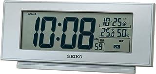 セイコークロック(Seiko Clock) 置き時計 銀色メタリック 本体サイズ: 7.7×17.4×3.8cm 目覚まし時計 電波 デジタル 温度 湿度 表示 快適環境NAVI SQ794S