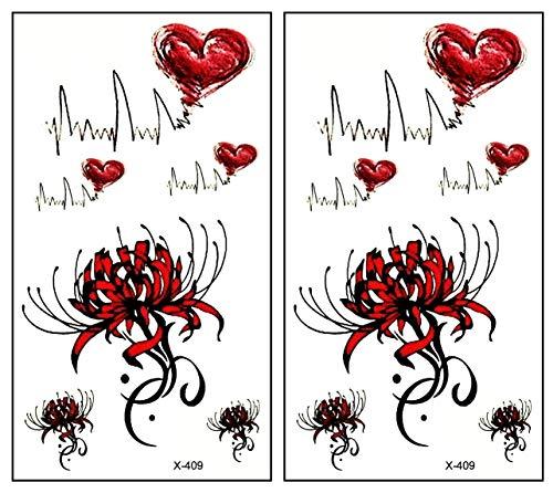 Mini Tattoos 2 Sheets Red Flowers Heart Pulse Cartoon Temporary Tattoo for Men Women Kids Children's Art Fashion Fun Party Tattoos Stickers Fake Body Waterproof (14)