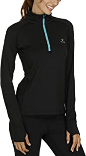 Women's Yoga Jacket 1/2 Zip Pullover Thermal Fleece Athletic Long Sleeve Running Top with Thumb Holes