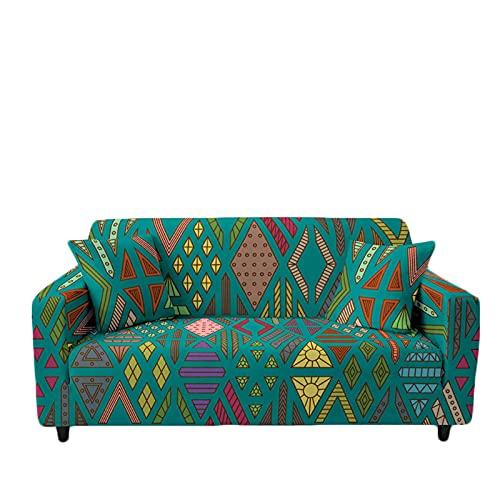 Meiju Fundas de Sofá Elasticas de 1 2 3 4 Plazas Geometría Ajustables Antideslizante Cubierta de Sofá Lavable Extensible Funda Cubre Sofas Furniture Protector (Rombo Verde,1 Plaza - 90-140cm)