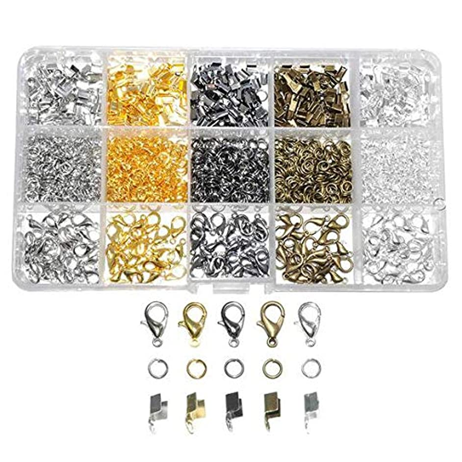 1600 Pcs/Box Jewelry Making Kit 5 Colors with Open Jump Rings, Lobster Clasps, Cord Ends