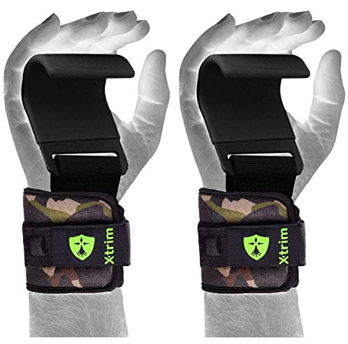Xtrim Dura Lift -Heavy Duty Metal Lifting Steel Hooks -Best Power WeightLifting Set of 2 Premium Thick Neoprene Padded Workout Hook -Training Gym Hook Straps-weightlifting, dead lifting. cross-training