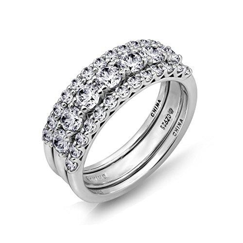 Diamonbliss Platinum Clad Cubic Zirconia Set of Three Band Rings- Size 5