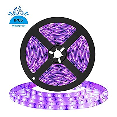 16.4ft 5m UV Black Light LED Strip, Lemonbest 12V Flexible Black Light IP65 Waterproof for Indoor Outdoor Fluorescent Dance Party