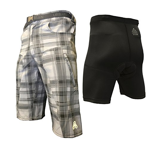 The Enduro - Men's Plaid MTB Off Road Cycling Shorts with Pad, X-Large