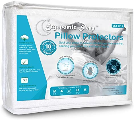 Ergonomic Sleep Erpp 3620K2 Premium Hypoallergenic 100 Waterproof Terry Cotton Pillow Protector product image