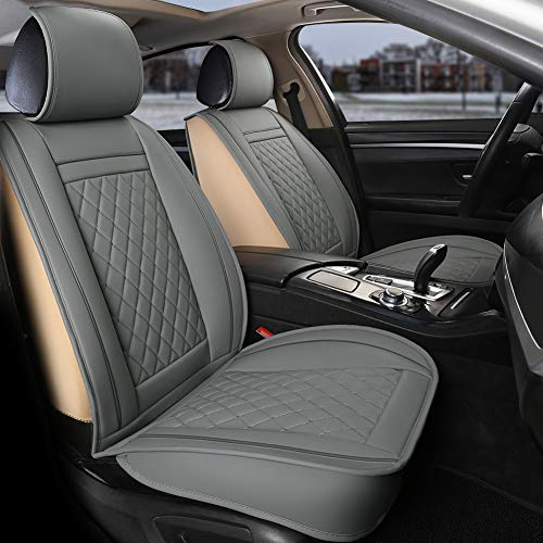 GIANT PANDA Luxury Leather Front Car Seat Covers, 1 Pair Faux Leather Car Seat Protector Fit Most Cars Sedans SUVs (Gray) Arizona