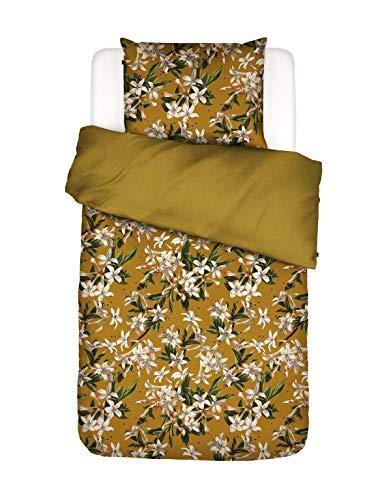 ESSENZA Bettwäsche Verano Blumen Baumwollsatin Gelb, 155X220 + 1 X 80X80 cm