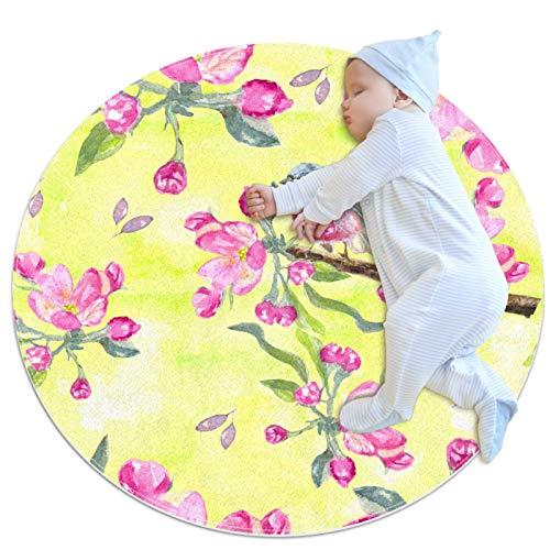 huhulala Alfombra de baño, alfombra redonda, supersuave, esponjosa, decoración del hogar, alfombra para niños, decoración de bebé, decoración de pájaros y flores rosas