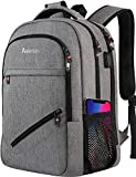 Asenlin Travel Laptop Backpack,TSA Large Travel Backpack for Women Men, 17 Inch Business Flight Approved Carry On Backpack with USB Charger Port and Luggage Sleeve, College Computer Backpack - Grey